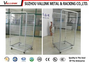 China Zinc Surface Foldable Roll Cage Trolley With 4 Wheels , 4 Sided Roll Cages on sale