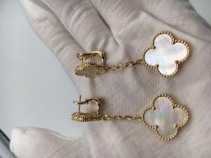 China Real low price and high quality jewels Magic Alhambra earrings 2 motifs yellow gold white mother-of-pearl on sale