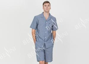 China Custom Printed Mens Luxury Sleepwear Chambray Short Sleeve Button Through Shirt on sale
