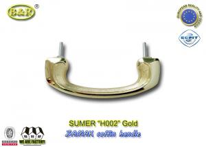 China European Style Zamak Coffin Handles H002 gold color 17.5*6.3cm bolt install metal coffin hardware on sale