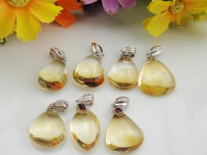 China Wholesale 925 Sterling Silver Citrine Gemstone Semi Precious Stone Jewelry Pendant 7pcs on sale