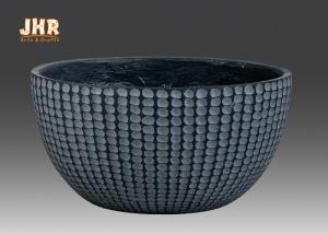 China Pattern Design Fiberglass Flower Bowl Clay Garden Pots Outdoor Fiber clay Pot Planter on sale