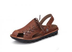 China Outdoor Handmade Leather Sandals Summer Black Platform Flat Sandals For Men on sale