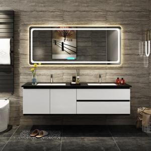 China Black And White Double Sink Bathroom Vanity With Double Sink And Touch Type Mirror on sale