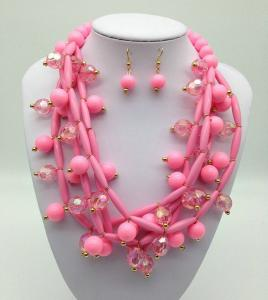 China Fashion Exporting designs Acrylic Bead African Beads Jewelry Set Multi layer Necklace And Earring Set on sale