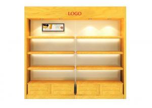Quality Custom Wall Glass Display Cabinet Wtih LED Light Below Shelf , High Grade Wall for sale
