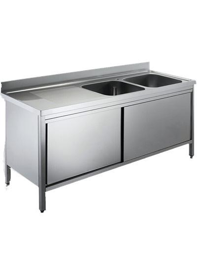 Freestanding Hotel Commercial Stainless Steel Sinks With Double Drainboard  Images
