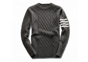 China Round Neck White Knit Pullover Sweater Spring Stripe Long Sleeve Rib Hem For Men on sale
