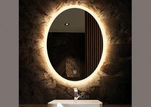 Hotel Decoration Oval Bathroom Vanity Mirrors Wall Mounted With Smart Touch Switch Decorativetemperedglass