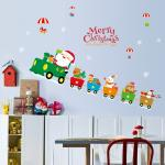 Indoor Decoration Christmas Wall Stickers PVC 3D Santa Claus Drive Train Pattern