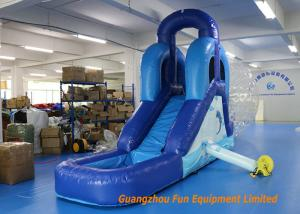 China CE UL Blue Commercial Inflatable Slide , Indoor Small Kids Water Slide on sale