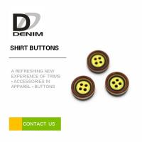 Yellow Pearl Dress Shirt Buttons , Commercial Four Hole Button In Bulk