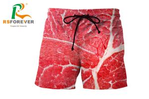 China Red Full Printing Mens Swim Shorts Without Zip / Elastic Waist Beachwear on sale