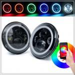 Phone Control Bluetooth jeep wrangler headlight RGB Color Halo Ring,7inch led headlight 7 DRL For Jeep wrangler tj/cj