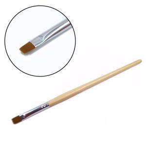 China Professional UV Gel Nail Brush , Flat Nylon Nail Brush Wood Handle on sale