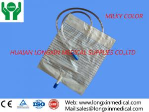 China disposable adult urine drainage bag with pull-push type valve ,white color 2000ml on sale