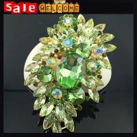 Large Crystal CZ Diamond Brooch ,Big Glass Crystal Acryl Wedding Brooch ,Long Leaf Brooch