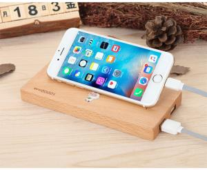 China Wood Color Slim Portable Wireless Charger Power Bank with 73% Wireless Charging Effect on sale