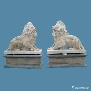 China Natural Stone Carving Sculpture Antique Finish Stone Lions Animal Figures on sale