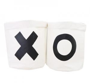 China Foldable canvas line laundry bag sundries basket on sale