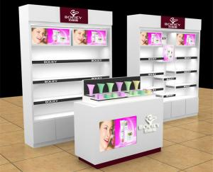 China Retail Makeup Display Stand , Cosmetic Display Counter For Exhibition on sale