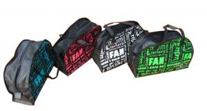 China Black Binding Non Woven Carry Bag Traveling Style Zipper Double head Closing Silk Screen Printing on sale