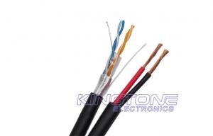 China 2 Twisted Pairs FTP CAT5E 24AWG Solid Copper with CCA Power for CCTV IP Camera on sale