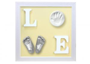 China Customized Baby Keepsake Box , Hand And Foot Prints Frame For Baby Anniversary Gift on sale