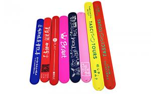 China Colorful Printing Silicone Slap Wristband Non Toxic Materials For Children Toys on sale