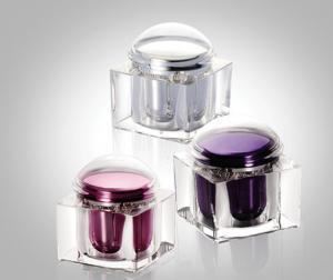 China 200g Fashionable Square Acrylic Cream Jars With Dome Cap, Square Acrylic Mask Cream Jars on sale