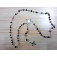 China 316L Stainless Steel Handmade Black Gold Plating Rosary Beads Saint Ball Chain Necklace on sale