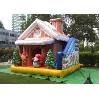 China Cuatomized 0.55mm PVC Merry Christmas Inflatable Santa Claus Bouncy Castle For Kids Play on sale