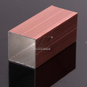 China Light Wood Grain Aluminium Tube Profiles Middle Size Square Alloy T3-T8 on sale