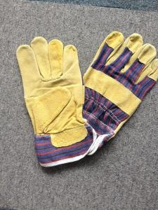 China 10.5 Leather Safety Working Gloves Full Palm Stripe Cotton Back And Pasted Cuff on sale