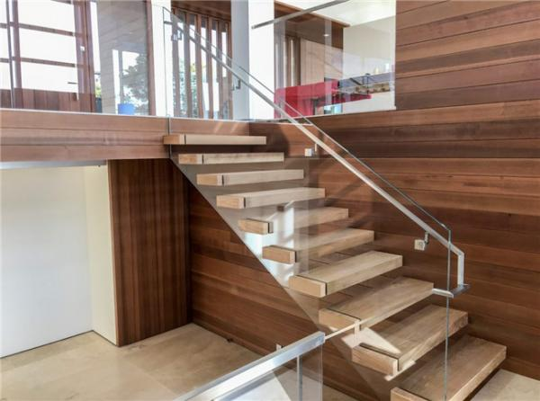 Single Stringer Floating Steps Staircase 50mm Wooden Tread With Decorative  Cover Images