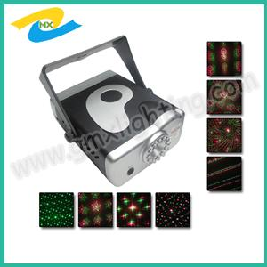 China Mini 8 patterns Laser stage lighting with sound control and red & greeen on sale