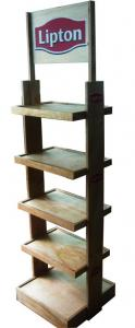 China Custom Painted MDF Floor Wooden Display Stands Shelf Bracket Finish With Paint For Shops on sale