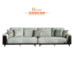 China Wooden Furniture Hotel Living Room Large Loose Cushion Lobby Fabric Sofas on sale