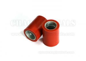 China Hard Red Silicone Custom Rubber Products Coated Zinc Iron Parts Rubber Roller on sale