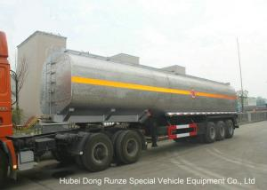 China Liquid Alkali Tanker Trailer With Stainless Steel Polished Tank For Sodium Hydroxide on sale