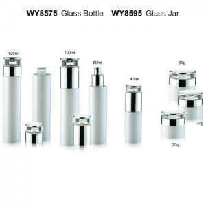 China White Cylinder Luxury Glass Cream Lotion Pump Bottle / Empty Cosmetic Bottles With Diamond Cap on sale