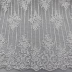 Floral Corded Embroidered Sequin Lace Fabric For Bridal Gowns Dresses