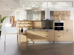 China Contemporary style curved countertop melamine kitchen cabinet on sale