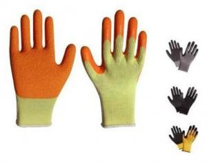 China Latex coated gloves,10G high grade T/C liner,latex coated,crinkle finsh,anti-acid/alkali on sale