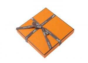 China Chocolate Custom Printed Gift Boxes High End Yellow Color With Ribbon Handle on sale
