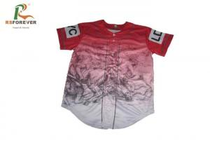 China White 100 Polyester Baseball Jerseys , Custom Sublimated Baseball Jerseys With Buttons Up on sale
