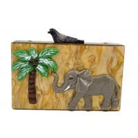 Unique Clasp Animal Pattern Elephant Slick Acrylic Handbag , Dress Clutch Bags