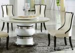 mesa de comedor de mármol redonda de 8 personas con Susan perezosa