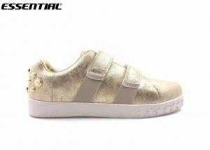 China Luxuary ladies Casual Shoes Pearled heel velcros Gold metallic PU on sale