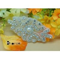 China Pearl Bridal Beaded Appliques Patch For Headband , Rhinestone Bodice Appliques on sale